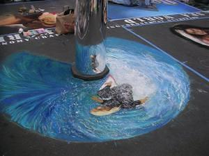 Chalk painting - Surfing the wave in the mirror
