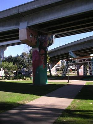 Murals and kiosk in Chicano Park