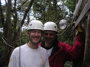 Paul and Pete in the canopy tour in Monteverde
