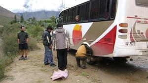 Our bus to the Inka Trail head gets a flat