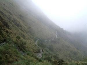 Inka Trail winding through the mountain.