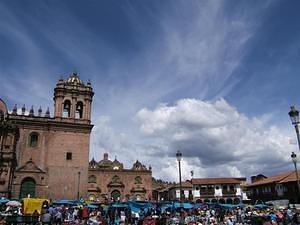 Plaza packed with vendors