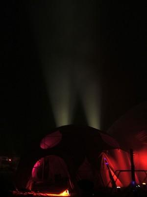 Dance dome in the night and dust