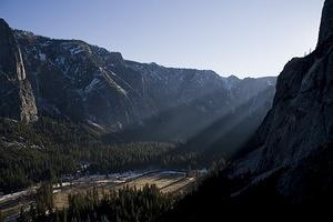 Last rays of sun for Yosemite Valley
