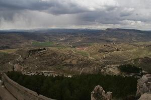Snow in the terraced hills around Morella's walls