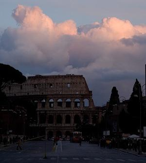 Pink clouds over the Colosseum