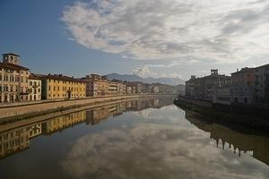 Pisa reflected in the Arno river