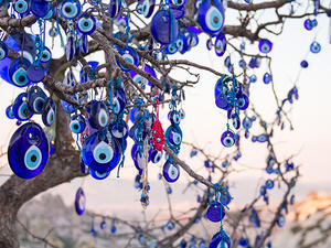 Tree with nazar (eye-shaped amulet believed to protect against the evil eye)